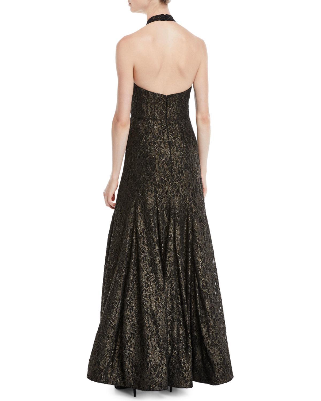 2e4ffdbed37e Lyst - Halston Metallic Lace Halter Gown in Black