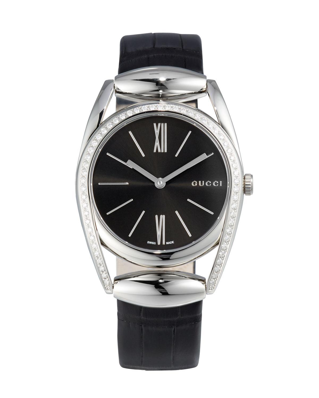 6f9ac71f7f5 Lyst - Gucci Horsebit Medium Stainless Steel   Diamond Watch W ...