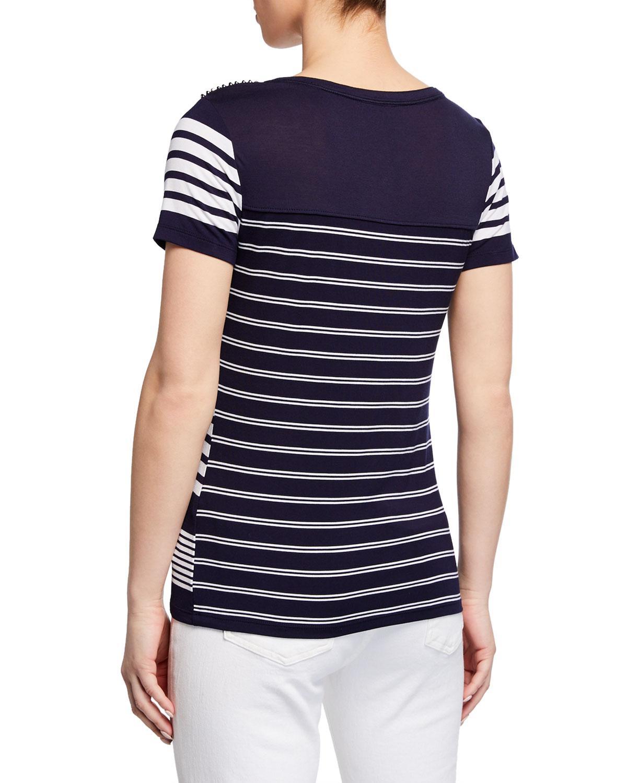07091730657 Lyst - Karen Millen Studded-shoulder Striped Tee in Blue