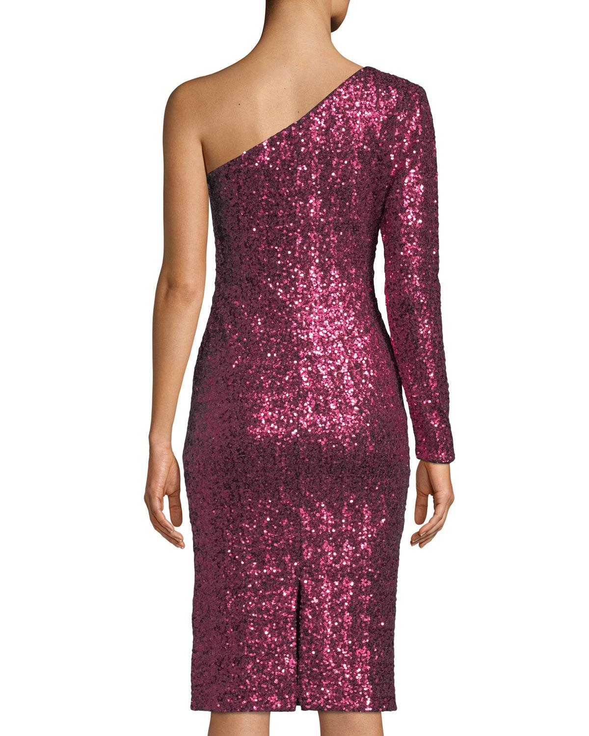 f9620140cf2 Lyst - Dress The Population Chrissie One-sleeve Sequin Bodycon Cocktail  Dress in Red