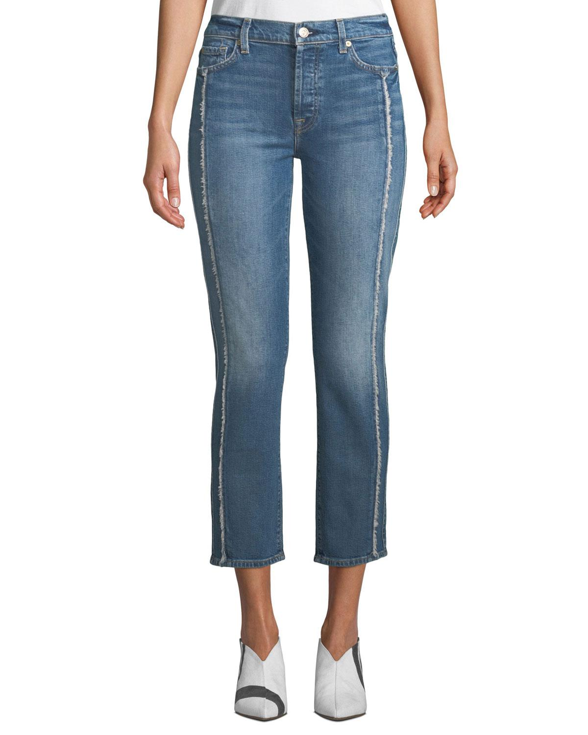 5a8a6f94acde 7 For All Mankind. Women's Black Edie Cropped Straight-leg Jeans ...