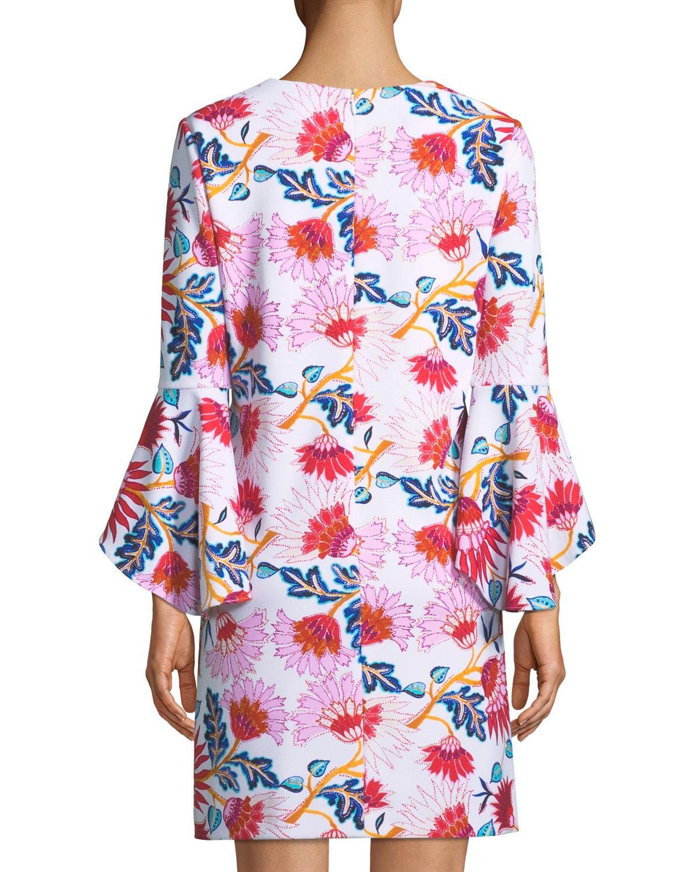 cd41bdc4c7c8 Lyst - Tahari 3/4-bell-sleeve Floral-print Shift Dress in Red