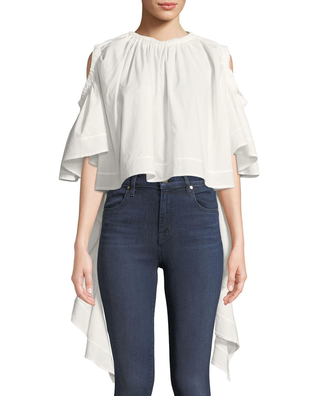 e8fe7a3a995 Lyst - Haute Rogue Zienna Cold-shoulder Handkerchief Blouse in White