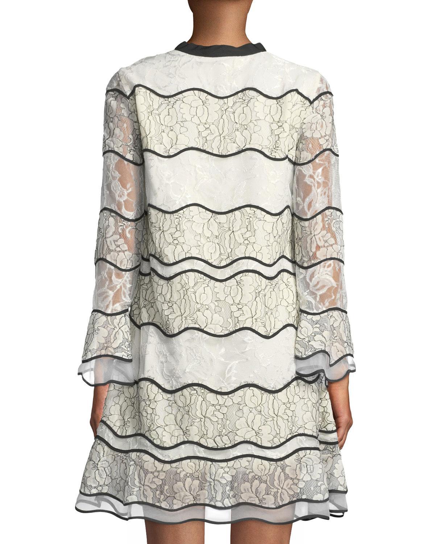 3d7cc724c4d5 Lyst - Sachin & Babi Slipper Long-sleeve Paneled Lace Cocktail Dress ...