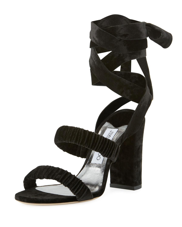 8494540d7262 Lyst - Jimmy Choo Marcella Velvet Ankle-wrap Sandal in Black - Save 37%