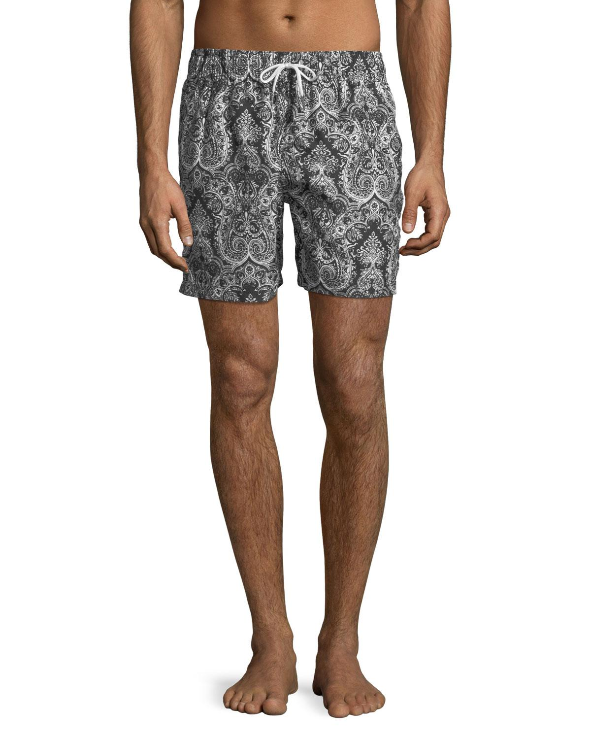 60b1196a76 Slate & Stone Medallion-print Swim Shorts in Black for Men - Lyst