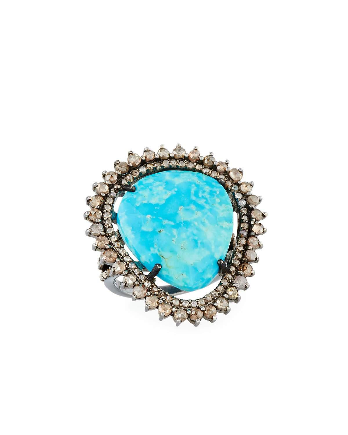 Bavna Turquoise & Diamond Oval Ring pGgrpZZku
