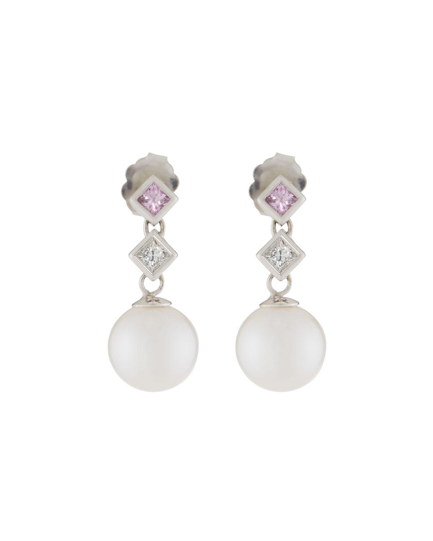 Belpearl 18k Linear Diamond & Pearl Dangle Earrings 10VBEP45r