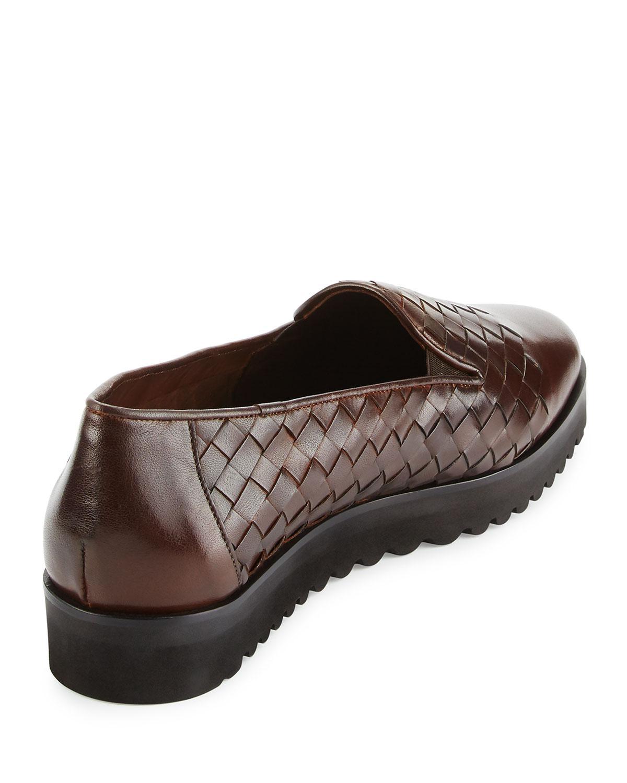 Sesto Meucci Naia Woven Leather Loafer, Dark Tan