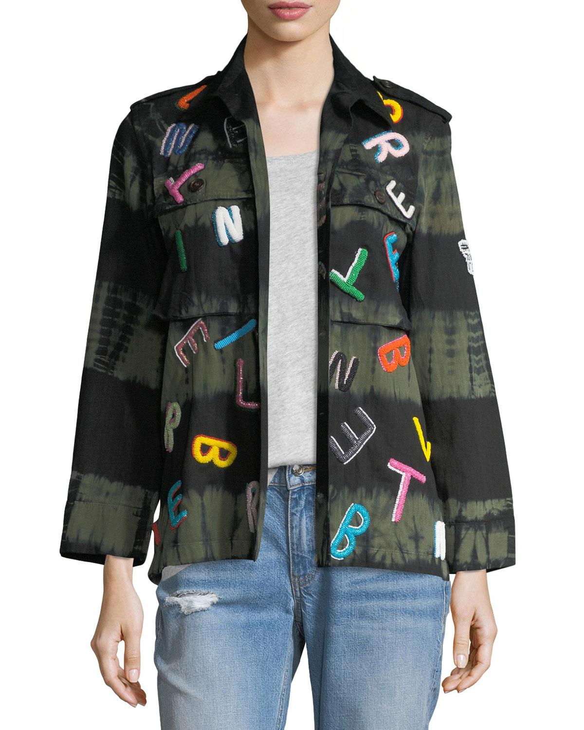 06c10e73b8113 Libertine - Multicolor Tie-dye Army Jacket With Letter Embroidery - Lyst.  View fullscreen