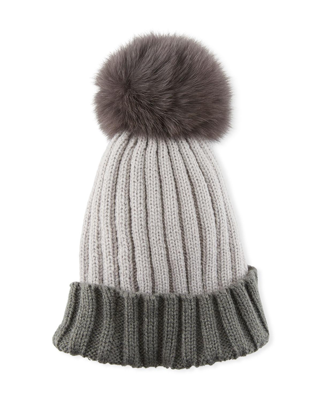 213c52ebdd1 Lyst - Adrienne Landau Colorblock Ribbed Beanie Hat With Fox Fur ...