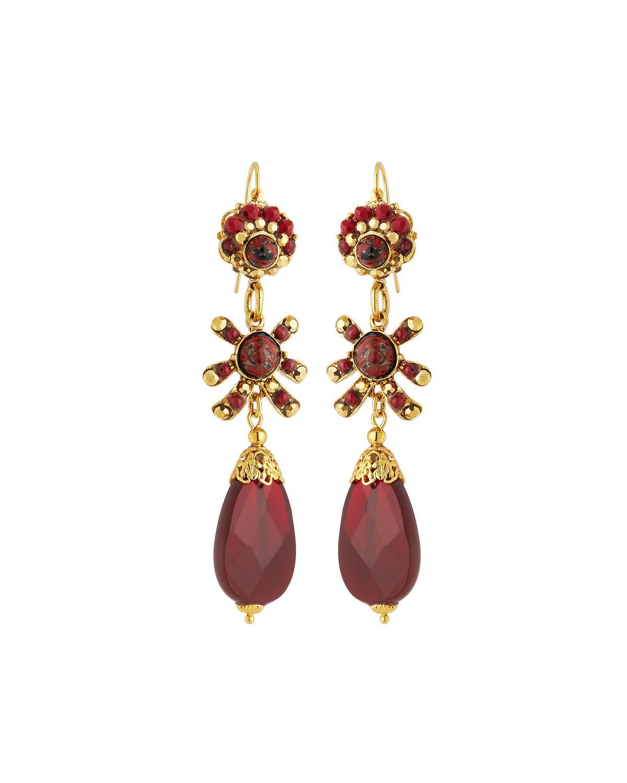 Jose Maria Barrera Women S Red Linear Filigree Teardrop Earrings
