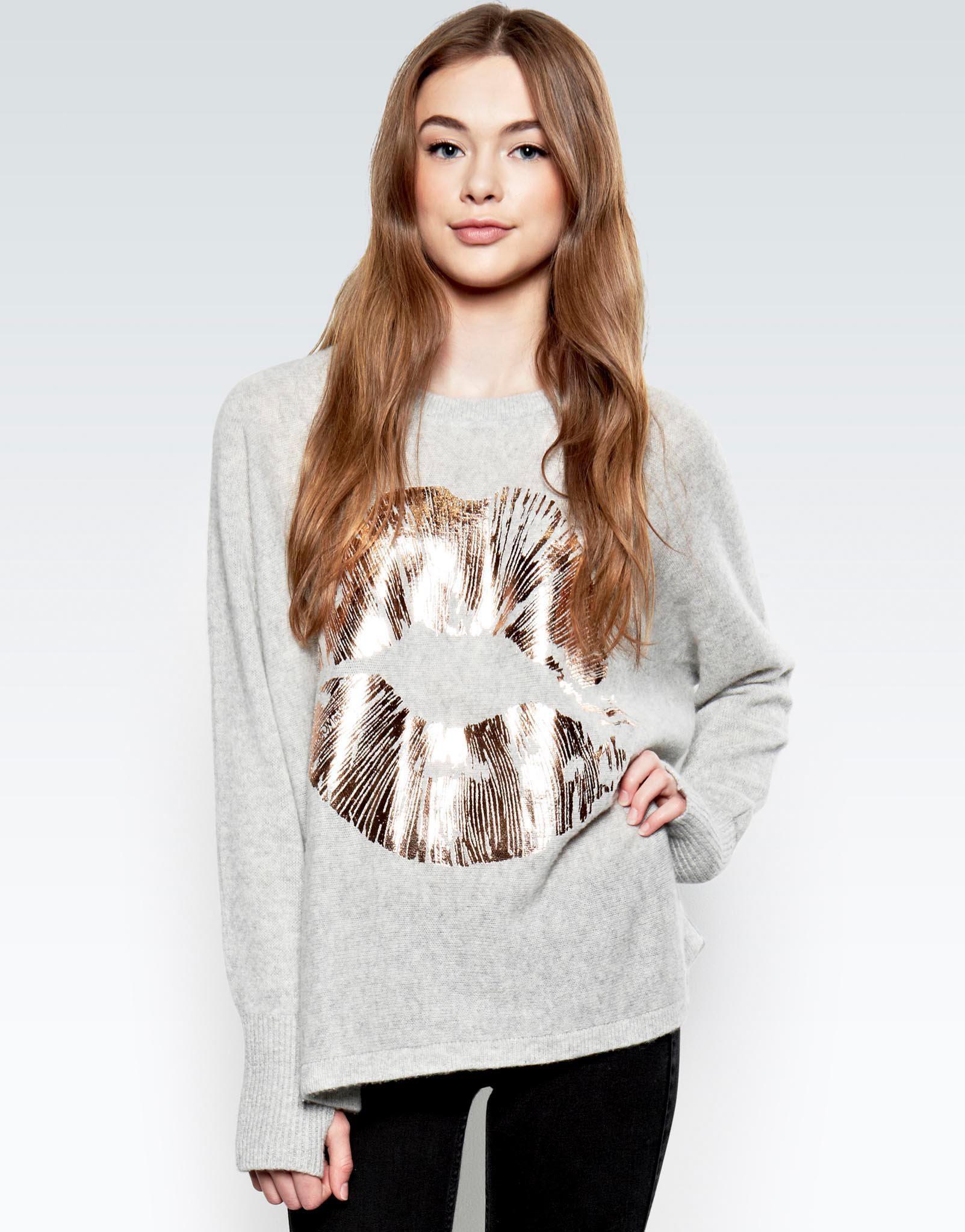 650bcfe1f Lauren Moshi Hollis Rose Gold Foil Lip L/s Cashmere Pullover Sweater ...