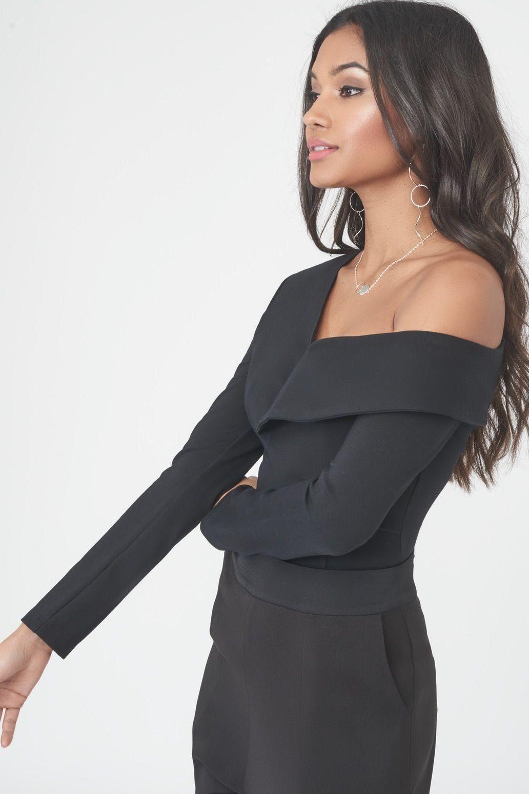 91c897465832 Lyst - Lavish Alice Origami Folded Bodysuit In Black in Black
