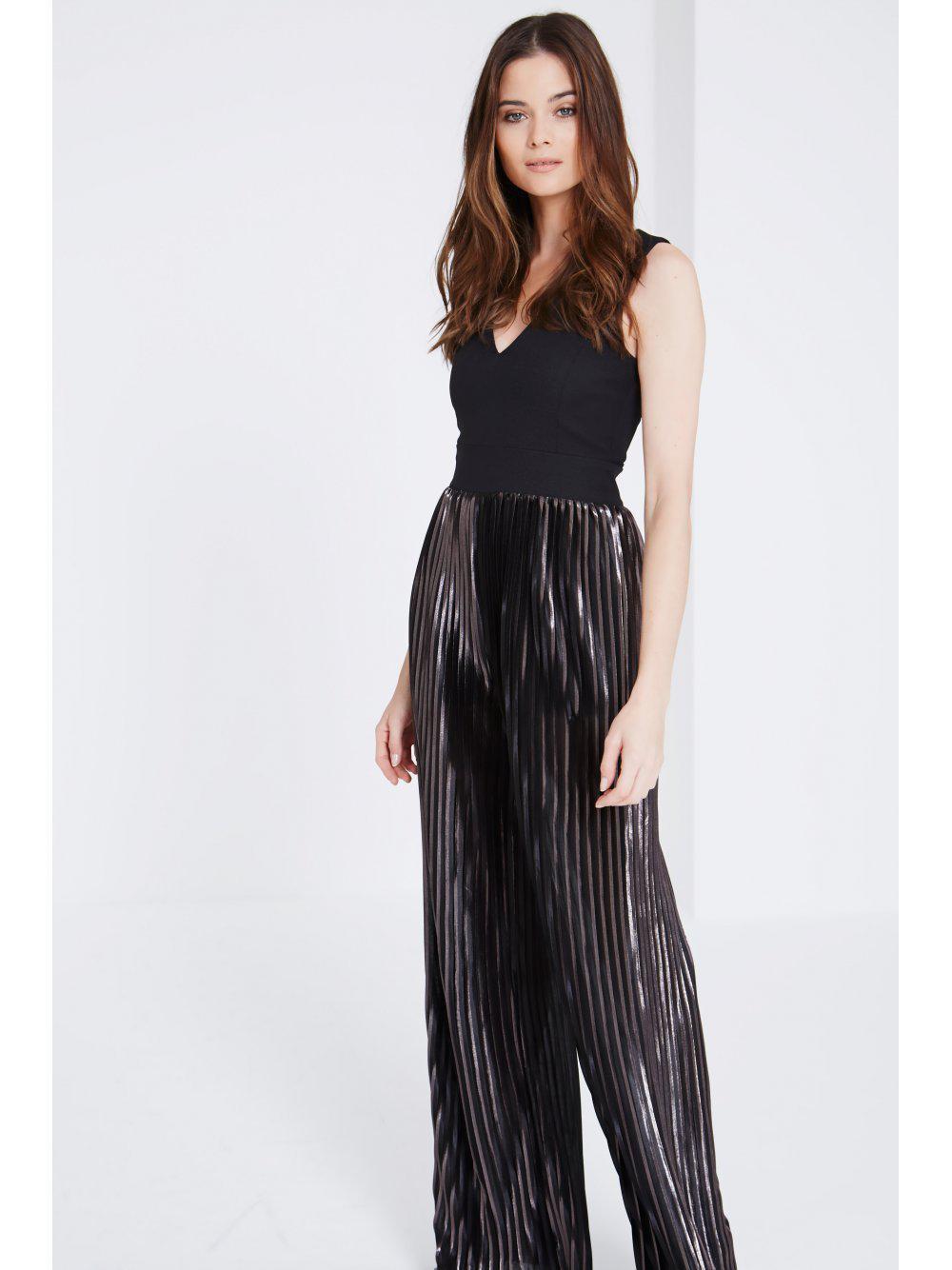 8567cd59d90 Lyst - Lavish Alice Black Metallic Pleat Wide Leg Jumpsuit in Black
