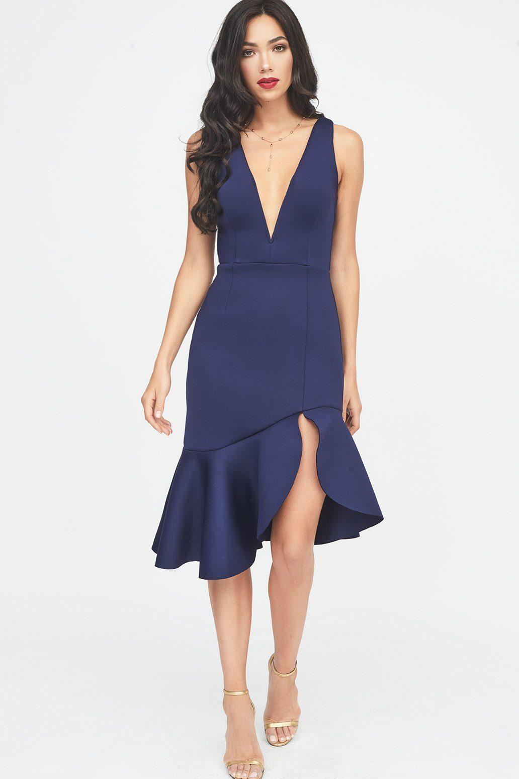 7fc1d7771fb Lavish Alice V Neck Plunge Scuba Midi Dress In Midnight Blue in Blue ...