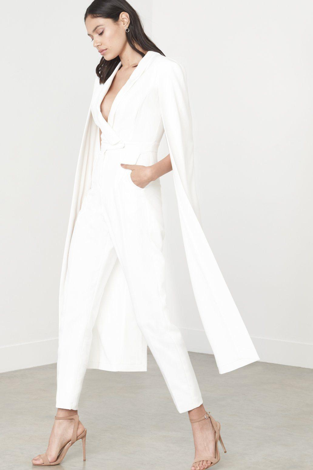 337c71bd5b Lyst - Lavish Alice Off White Tailored Cape Jumpsuit in White