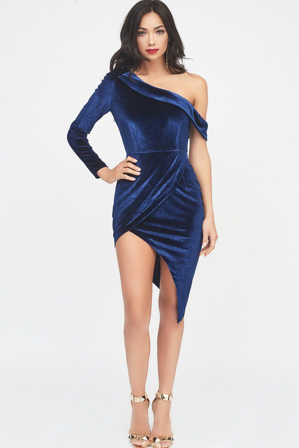 Lavish Alice - Blue Velvet One Shoulder Wrap Mini Dress In Navy - Lyst.  View fullscreen bfe22b0c0