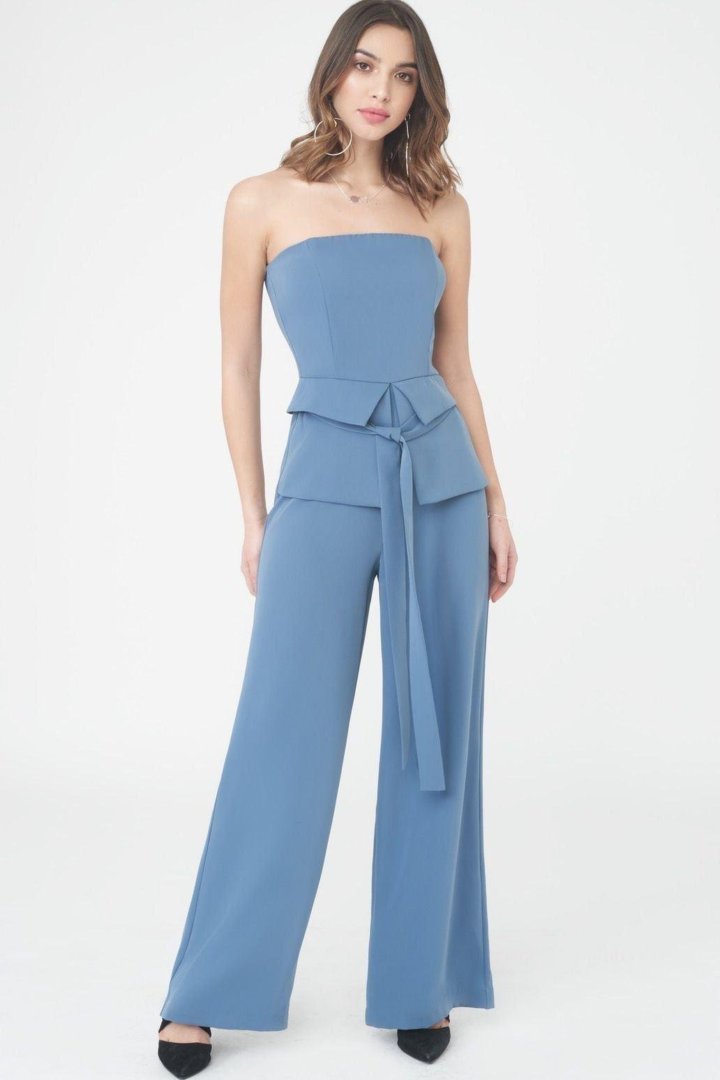 177e7e965805 Lyst - Lavish Alice Strapless Jumpsuit With Corset Belt in Blue ...