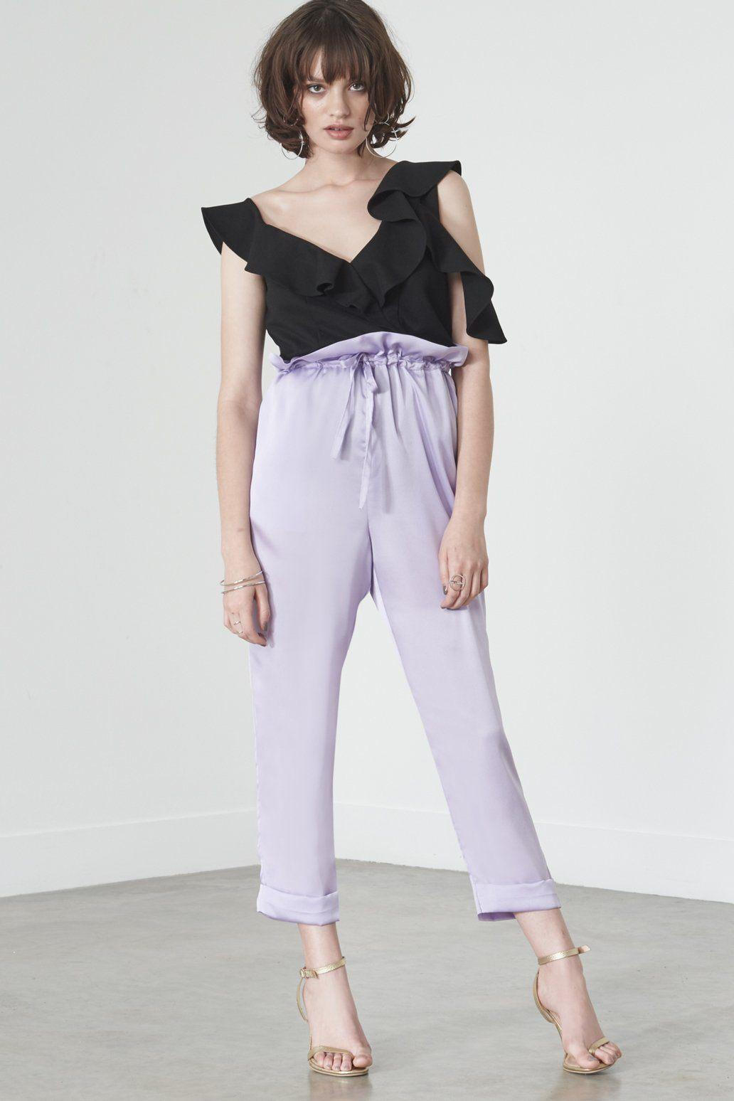 ba2f0188e87d Lavish Alice Paperbag Waist Trousers In Lilac Satin in Purple - Lyst