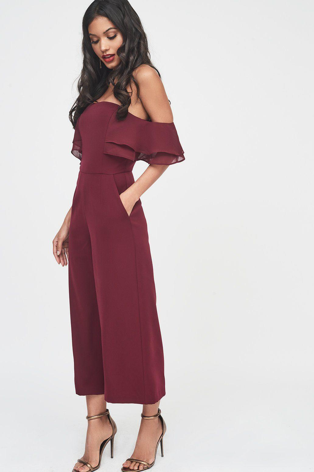 2204299aa21 Lyst - Lavish Alice Double Tiered Chiffon Mix Off The Shoulder ...