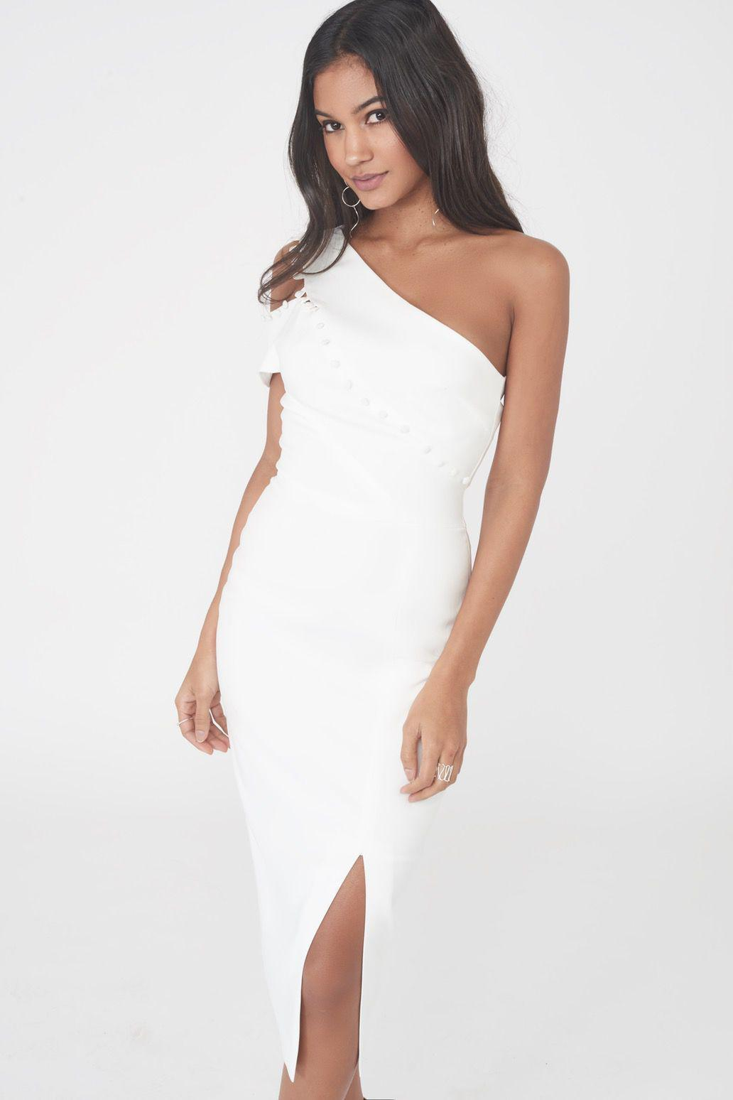 3158b3734eb Lavish Alice Buttoned One Shoulder Midi Dress in White - Lyst
