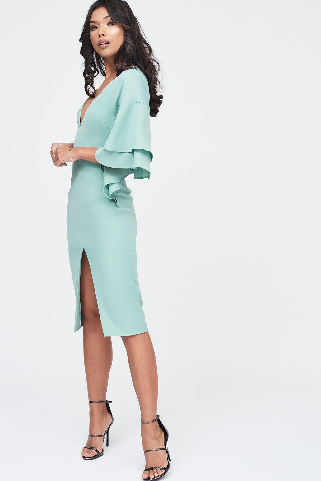 7d17021d1 Lavish Alice. Women s Blue Exaggerated Double Frill Sleeve Woven Midi Dress  In Sage