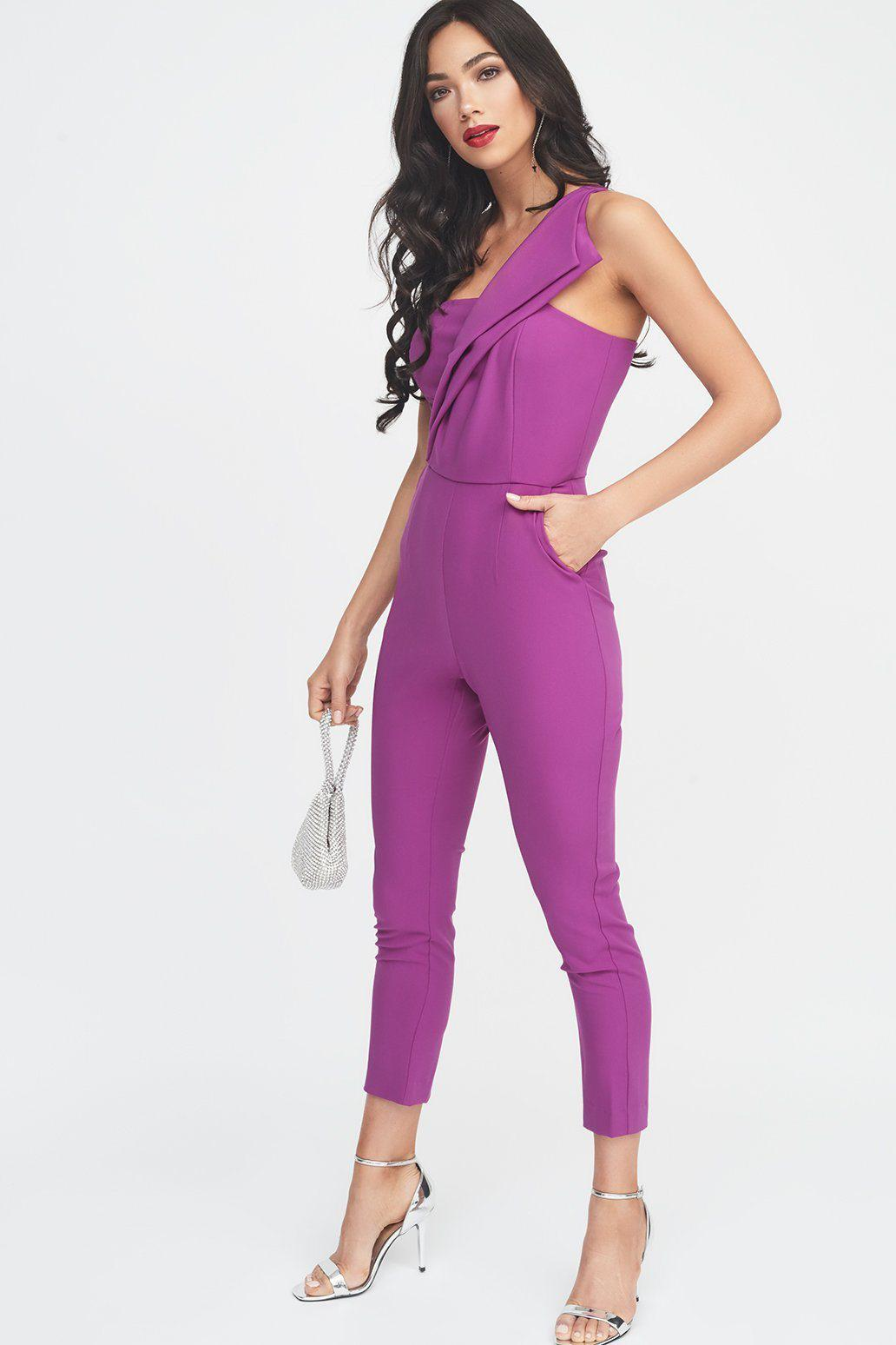61f7235167 Lyst - Lavish Alice One Shoulder Fold Detail Tapered Jumpsuit in Purple