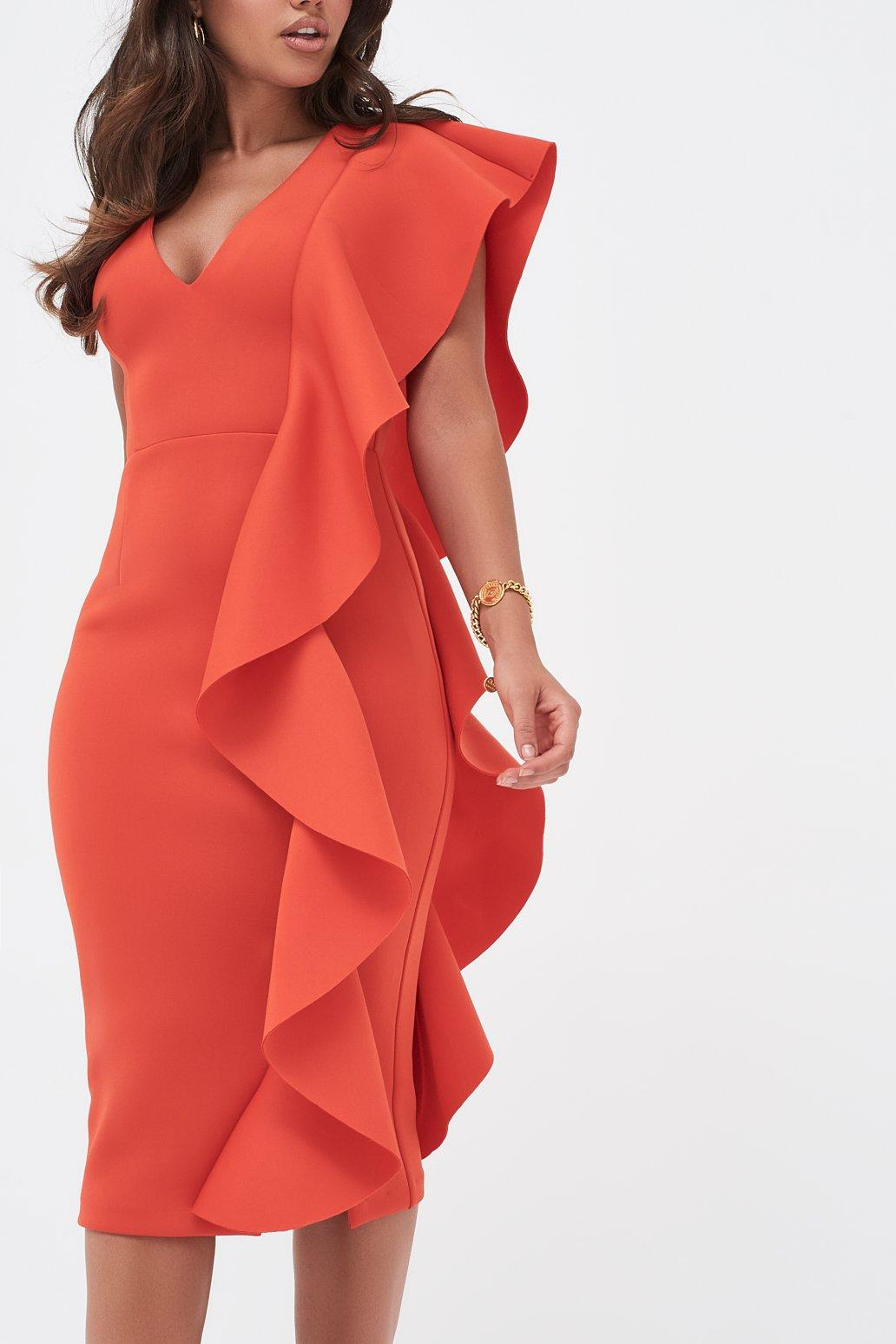 4b358fbe24b Lavish Alice - Scuba Frill V-neck Midi Dress In Scarlet Red - Lyst. View  fullscreen