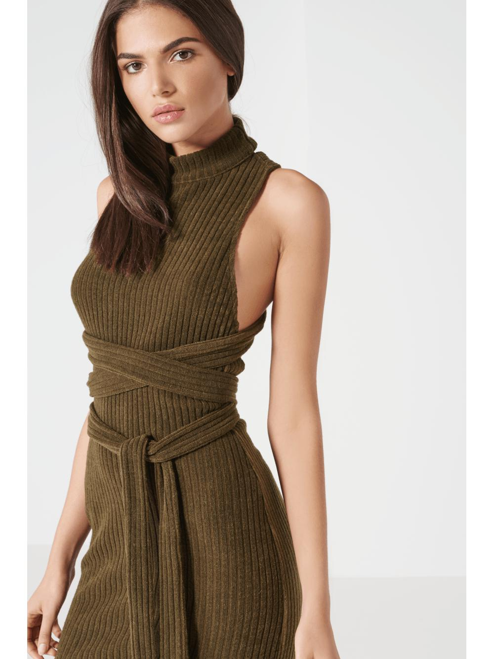 a68b0383e7b4 Lyst - Lavish Alice Khaki Rib Knit Open Back Wrap Tie Midi Dress