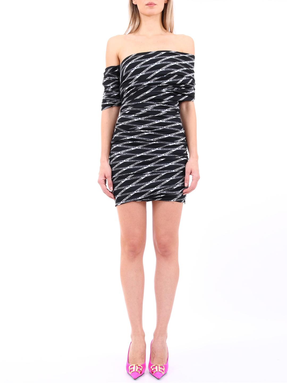 bd4546214d55 Lyst - Balenciaga Asymmetric Printed Monogram Dress in Black - Save 33%