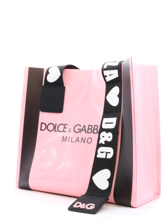 3668e7436f Dolce   Gabbana - Pink Pvc Street Shopping Bag With Logo - Lyst. View  fullscreen