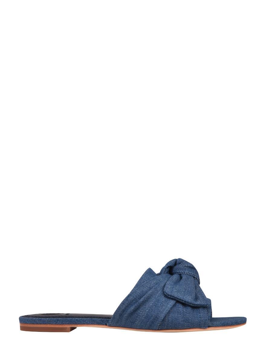 8fbb5eeae0ac7d Lyst - Tory Burch Annabelle Bow Slides in Blue - Save 64%