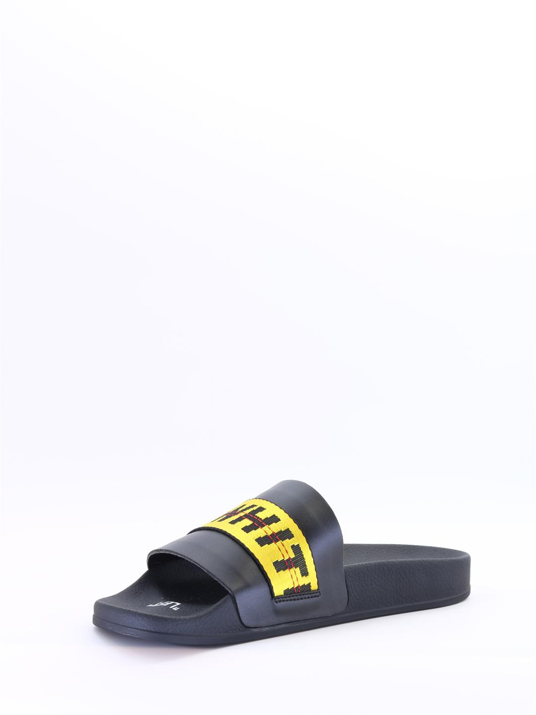 360d7b4e9124 Off-White C O Virgil Abloh Black And Yellow Industrial Strap Slides in Black  for Men - Save 38.12316715542522% - Lyst