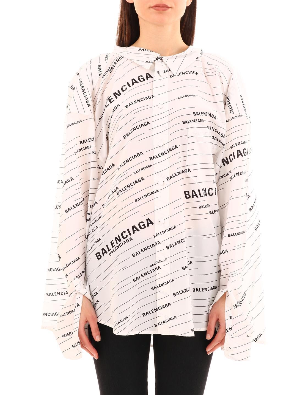 7ed7f0dfcb33a Lyst - Balenciaga Silk Blouse Logo All-over in White