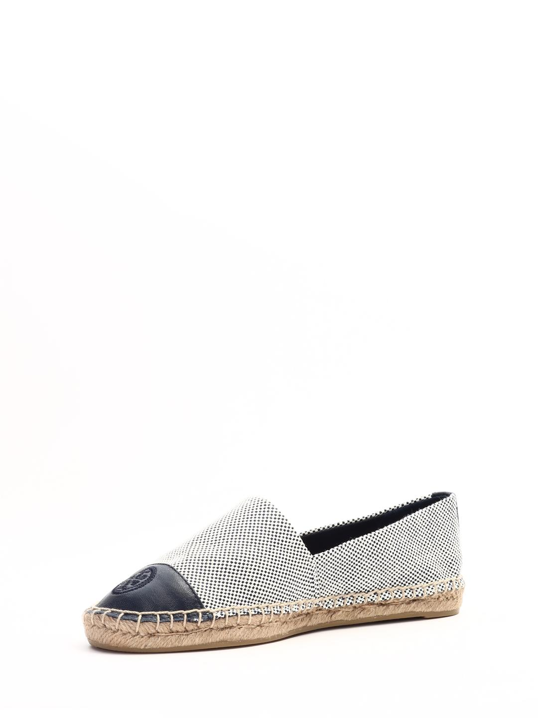 8d9c405e99b Lyst - Tory Burch Color Block Flat Espadrille (ivory black Leather) Women s  Shoes in Blue - Save 6%