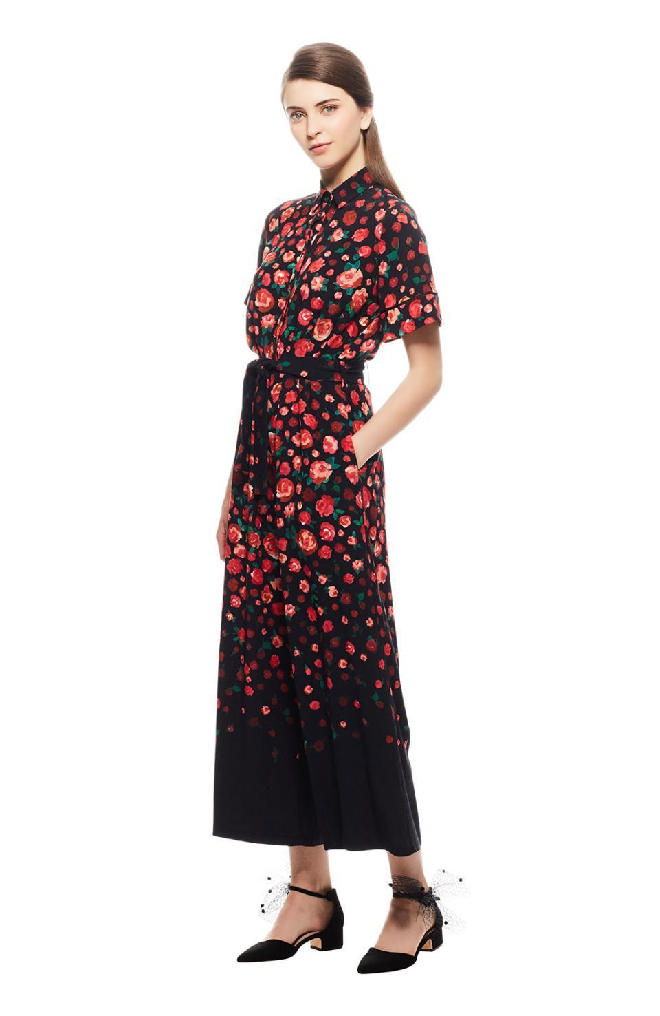 405418f0e94 Lyst - Lela Rose Degrade Floral Crepe Wide Leg Jumpsuit in Black