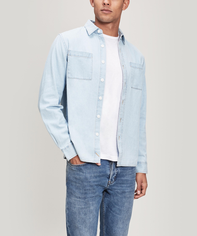 ce26ee1c752 Lyst - Saturdays NYC Nolan Washed Denim Shirt in White for Men