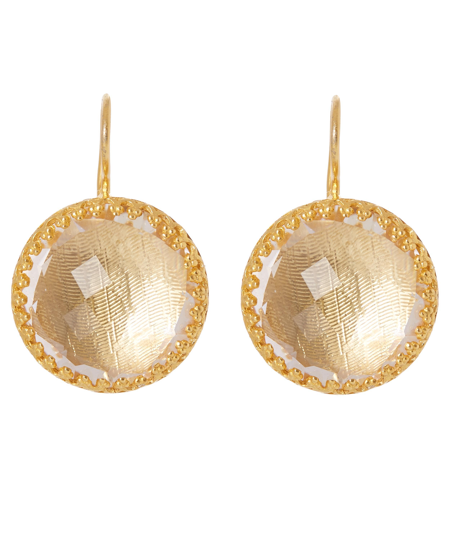 Larkspur & Hawk Olivia Button Earrings, White Quartz