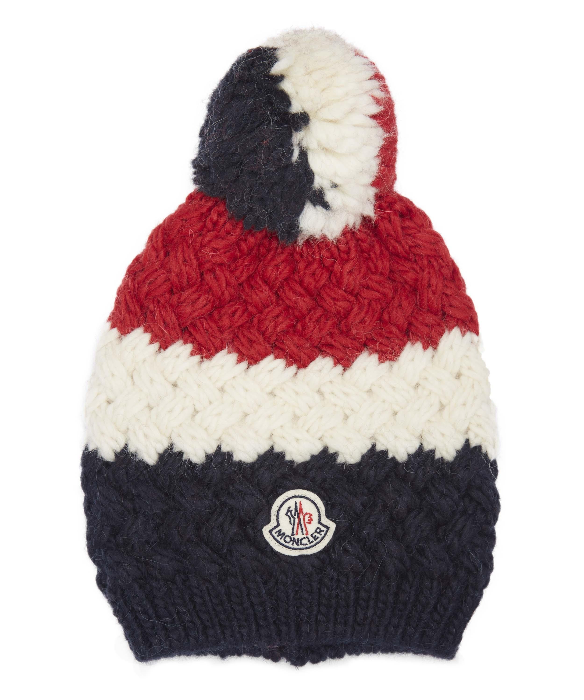 6134418ed44 Moncler Tricolour Pom Pom Hat for Men - Lyst