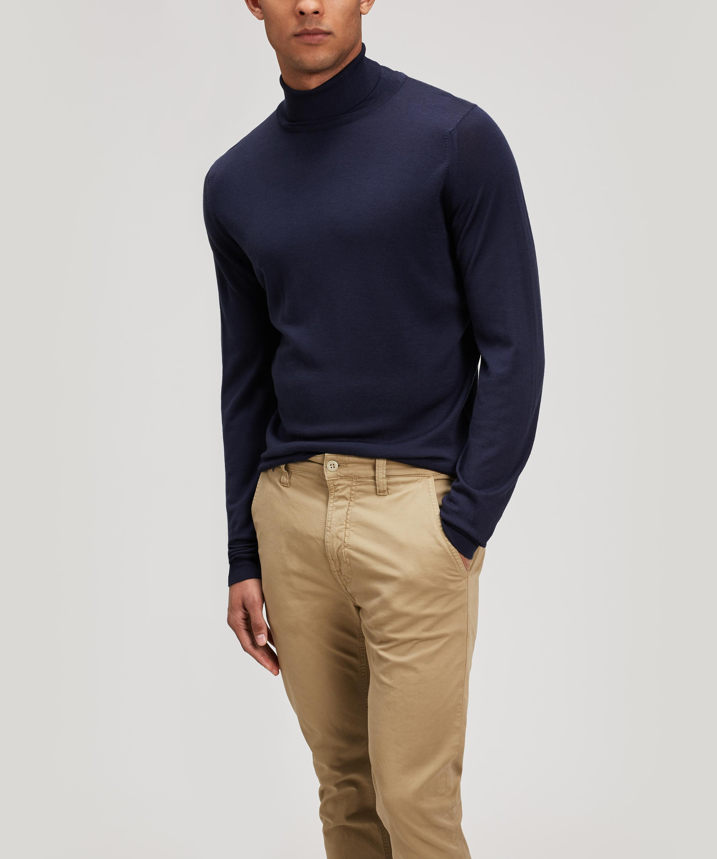 7aea0fe189b Men's Blue Cherwell Merino Wool Roll-neck Jumper