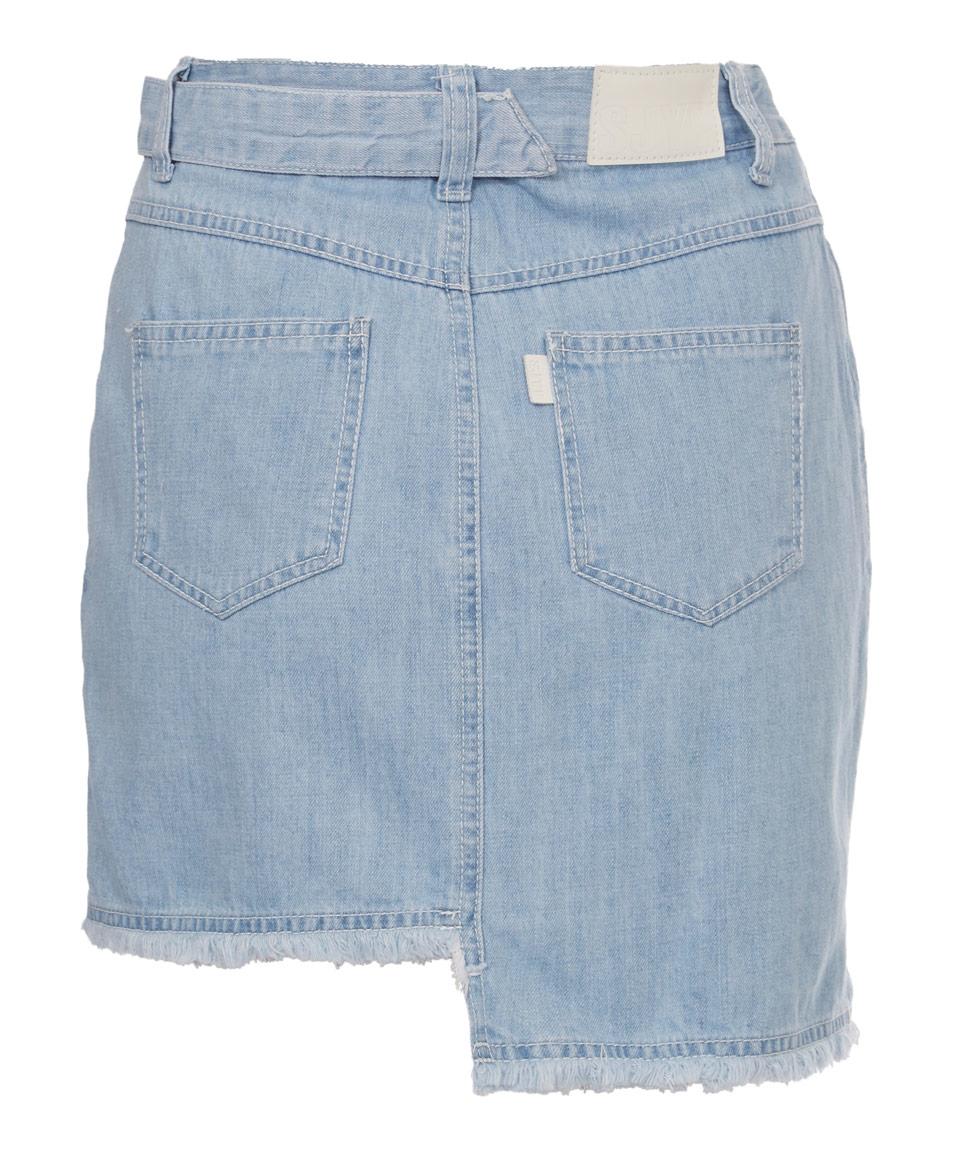 sjyp denim overall skirt in blue lyst
