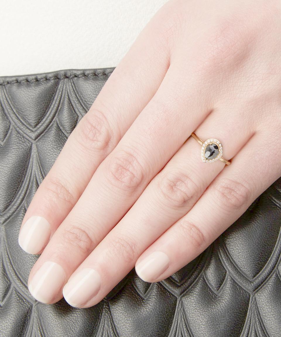 Lyst - Anna Sheffield Gold Black Diamond Pear Rosette Ring in Black
