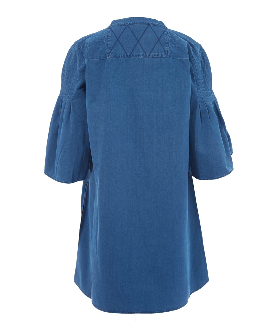Lyst M I H Jeans Indigo Denim Bell Sleeve Dress In Blue