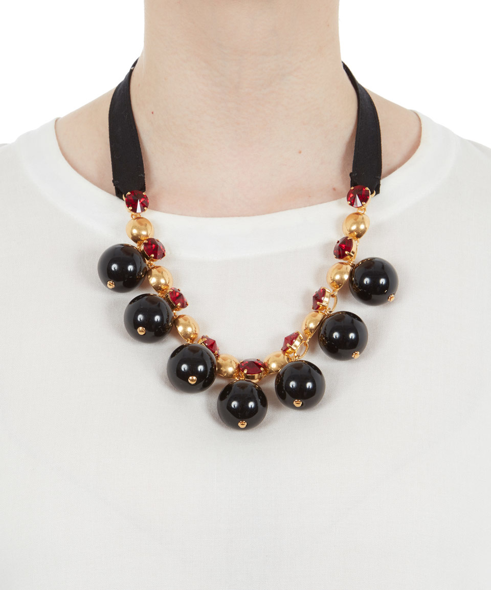 Lyst marni strass ball short tie ribbon necklace in black for Ribbon tie necklace jewelry