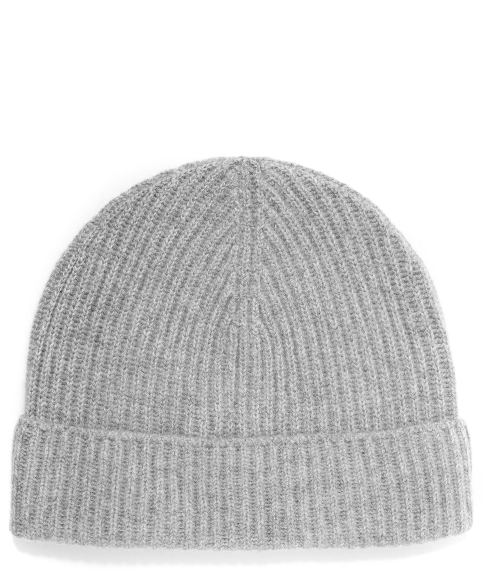 Johnstons Cashmere Knitted Ribbed Beanie Hat in Gray Lyst