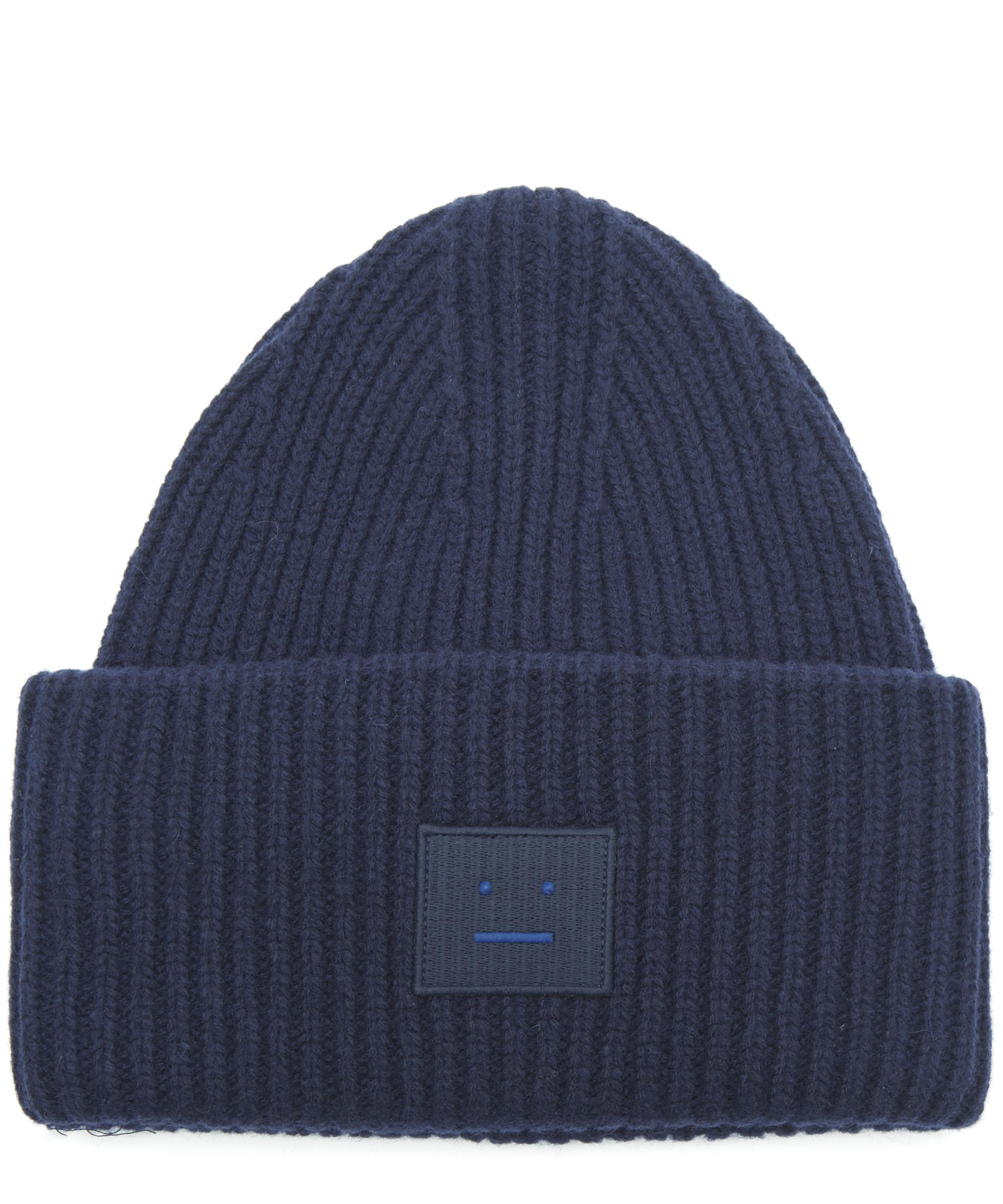 42d9797f458a2 Acne - Blue Pansy Face Wool Beanie Hat for Men - Lyst. View fullscreen