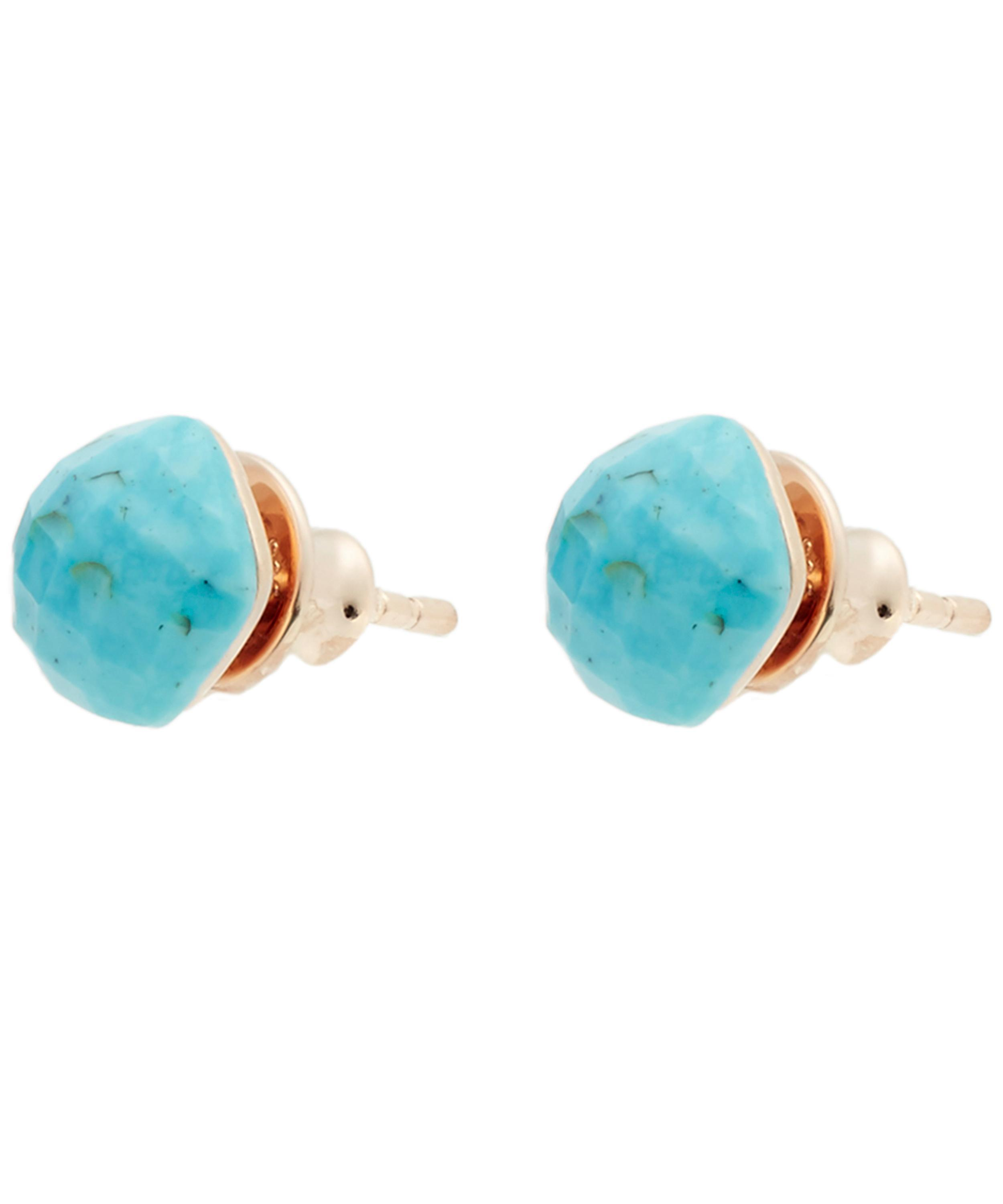 3f77133ba403f Monica Vinader Multicolor Rose Gold Vermeil Nura Turquoise Nugget Stud  Earrings