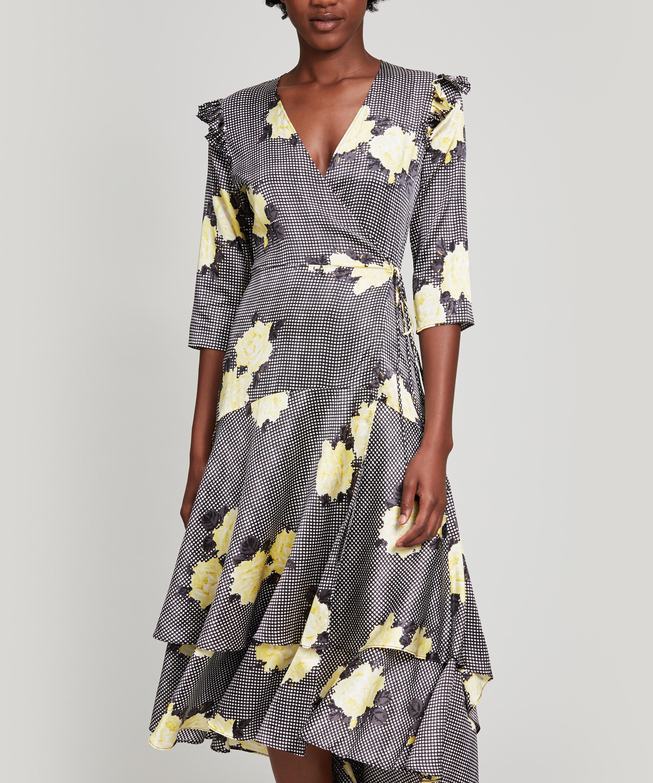 fee8220d Ganni Calla Silk Dress in Black - Lyst