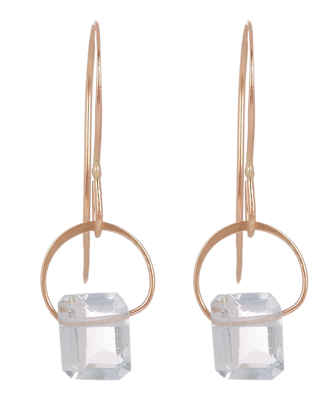 ba85f8edc Melissa Joy Manning Metallic Gold Emerald Cut Aquamarine Drop Earrings.  View fullscreen
